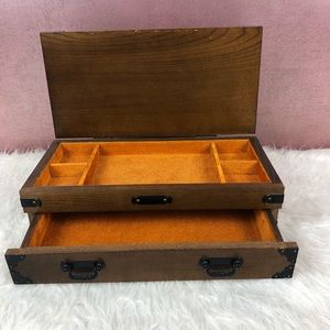 Wood Brown Black Hardware Jewelry Box